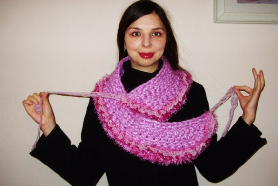 Unique and gorgeous handmade scarf pink Ukrainian style