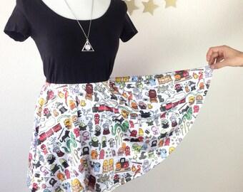 Chibi Harry Potter Doodle Skater Skirt