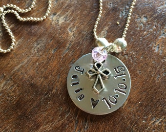 Personalized Name Necklace for Baptism, First Communion, Easter