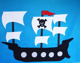 Pirate Party Game, Pin The Flag On The Pirate Ship Reusable Felt Build and Play Party Game