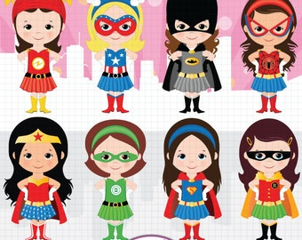 Superhero girls clipart, Girl power clipart, Supergirls, Batgirl, Wonder woman, Cute superhero clipart, Super hero girls clipart