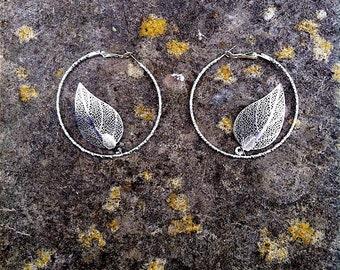 Delicate Silver Hoop Earrings with Silver Leaf Skeletons