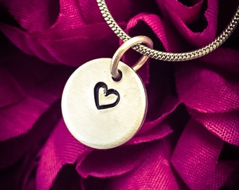 Heart Hand Stamped Necklace / Pendant. Cute Necklace, Love Necklace, Love Jewellery, Heart Necklace, Heart Jewellery, Girlfriend Gift