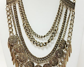 Bronze Multi Strand Chain Necklace / Coins Spike Multi Strand Statement Necklace.