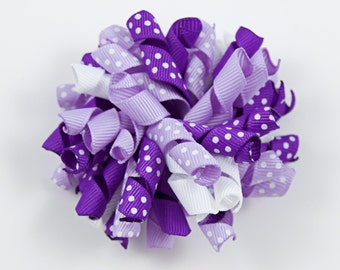Purple Hair Bow, Purple and White Korker Bow, Purple and White Hair Bow, Purple Curly Bow (Item #10002)