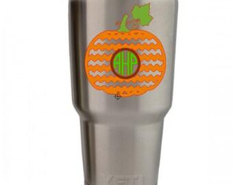 Chevron Pumpkin Monogram Decal - Fall Monogram Decal - Car Decal - Yeti Decal - Water Bottle Decal-Chevron Pumpkin Decal