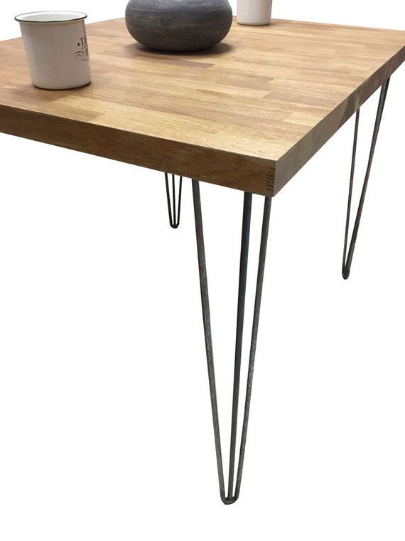 solid oak space saving hairpin leg reclaimed kitchen table. Black Bedroom Furniture Sets. Home Design Ideas