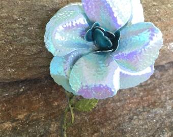 Blue Flower Brooch, Large Baby Blue Flower Pin, Wedding Bouquet Brooch, Statement Brooch
