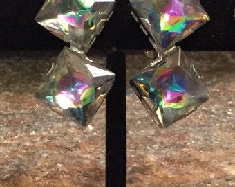 Rhinestone Dangle Earrings Rainbow Dangle Earrings Irridescent Earrings  Statement Earrings Wedding Earrings Wedding Jewelry