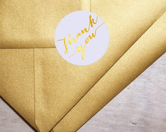 Gold Foil Rounded Labels - Metallic Stickers - Thank You - Envelope Labels - Rounded Label Tags with Gold Foil by Paper Charms GT106