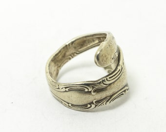 """Silver Spoon Ring with Ornate """"French Scroll"""" Carving on Edges Made from Recycled Sterling Silver Spoon Handle // Size: 6.5"""
