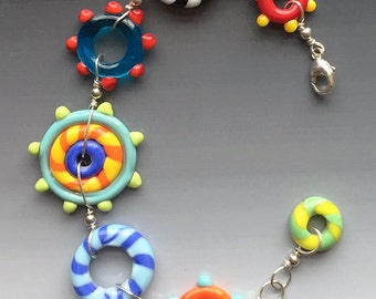 Circus Bracelet: handmade glass lampwork beads with sterling silver components