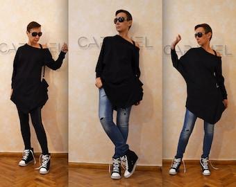 Asymmetric black top tunic  / Long sleeves blouse / Plus size dress by CARAMELfs T4915