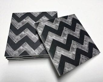Black Chevron Coasters - Chevron Decor - Chevron Home Decor - Drink Coasters - Tile Coasters - Ceramic Coasters - Table Coasters
