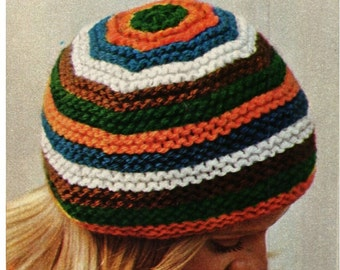HAT PATTERN  Cap Pattern Ski Hat Pattern Vintage 70s KNITTING Pattern
