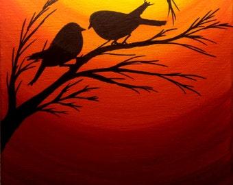 Original Sunset painting Christmas gifts sale Love birds silhouette at sunset birds wall art Acrylic painting canvas art Wall decor Wall art