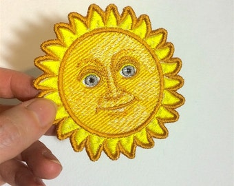 Sun With Face Emoji patch. Embroidered.