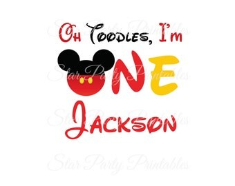 1st Birthday, One, Personalized Mickey Mouse Digital Image for T shirt, Printable Iron On Transfer, Sticker custom Birthday Shirt image