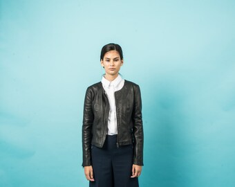 Black collarless lambskin leather jacket
