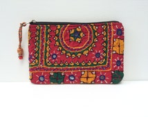Red Banjara Clutch - Embroidered Pouch - Kantha Purse - Vintage Boho Clutch Bag - Mirrored Purse