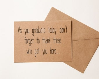 AS YOU GRADUATE - Friend or Family Member - Funny Graduation Card - High School or College Graduate - New Graduate - College Graduation Card