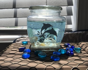 Dolphin Gel Candle, Ocean Beach Candle, Seashells, Unique Birthday Gift, Personalized Gift