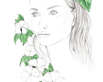 Tropical print - A4 print - A3 print - Portrait drawing - Illustration - Watercolour - Beauty - Art - Floral - Fashion illustration - Bali