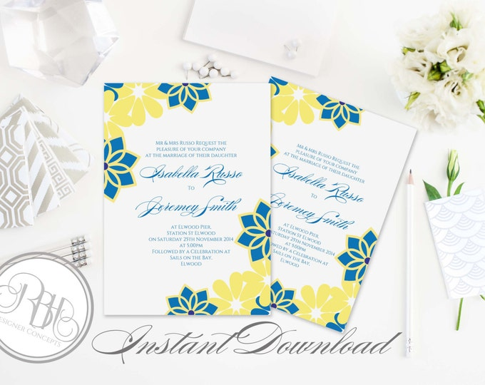 Tropical Wedding Invitation 5x7 -INSTANT DOWNLOAD-PDF Editable Text Only-Tropical Hawaiian Print Invitation-Victoria