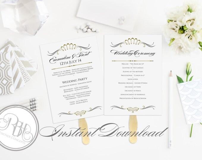Art Deco Wedding Program Fan Template -Instant DOWNLOAD - EDITABLE TEXT pdf Only - Art Deco Black & Gold 5 x 7-Anneliese