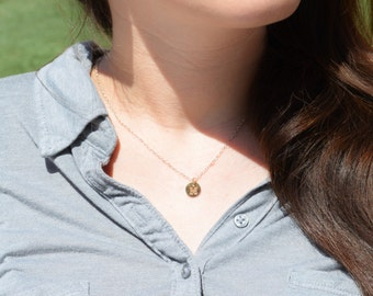 Tiny Monogram Necklace,  Gold Filled Necklace, Gold Filled Jewelry, Monogram Pendant, Gold Jewelry, Letter Pendant, Gold Pendant, Alphabet