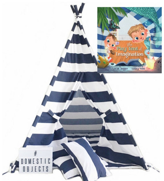 Play Tent & Book COMBO. Teepee Handmade in Navy Blue White Stripe Designer Cotton Fabric. Comes With Padded Mat Base AND Two Pillows!