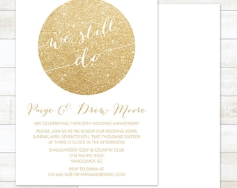 vow renewal invitation, white gold vow renewal invitation, DIY wedding renewal invitation, we still do invitation