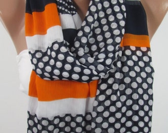 Polka Dots Scarf Striped Infinity Scarf Navy Scarf Shawl Summer Scarf Denver Broncos Scarf Accessory Birthday Christmas Gift For Her For Mom