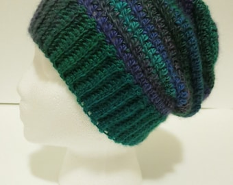 Crochet Hat with Ribbed Edging in Green and Blue