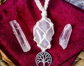 Rose Quartz hemp wrapped necklace