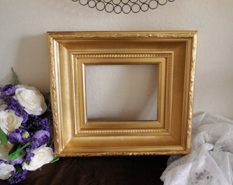 Gold Picture Frame, 8X10 Hand Painted Frame.  Open Large Frame