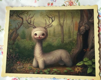 An original postcard from Mark Ryden's Tree Show ' Yoshi '