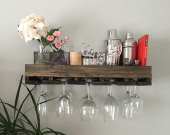 "24"" Rustic Wood Wine Rack   Shelf & Stemware Glass Holder Organizer Unique"