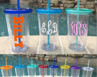 Colorful Lids 16 oz. Acrylic Tumbler with Straw