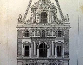1852 Antique ARCHITECTURE print, vintage Louvre  engraving, oddity Pavillon TURGOT art, building  decoration France plate.