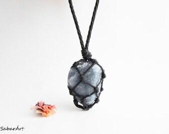 Mens necklace, blue quartz, simple necklace, blue quartz pendant, healing stone necklace, blue necklace, chakra jewellery
