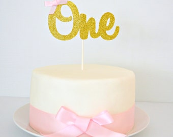 READY TO POST One Cake Topper | Gold Glitter One | 1st Birthday Cake Topper with pink bow | First Birthday Party or Cake Smash | Photo Prop
