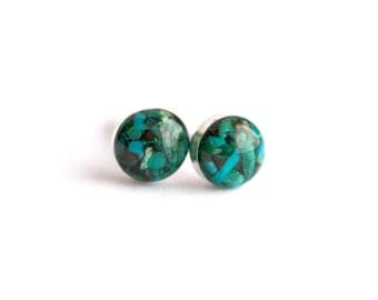 4mm Blue Chrysocolla Earrings. Chrysocolla Earrings. Chrysocolla Studs. Chrysocolla Stud Earrings. Studs. Stud Earrings. Blue earrings.