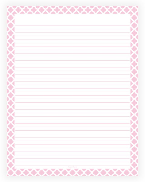 Editable Lined Paper   Pink And White Quatrefoil   Instant Download,  Digital, Printable, PDF