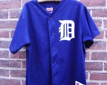90's detroit tigers baseball jersey size large by majestic