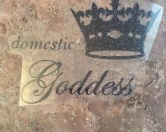 Domestic goddess htv vinyl iron on 6*4 (color-black)