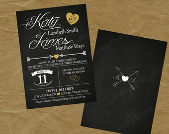 WEDDING Invite or BRIDAL Shower Party Invitation Printable File - chalkboard hearts arrows front and back