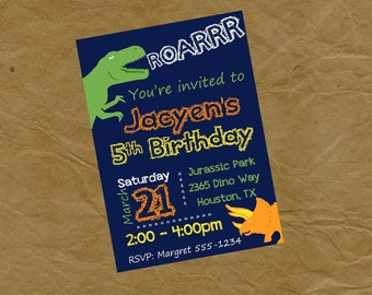 DINOSAUR Roar Birthday Party Invitation Invite T Rex -Digital or Printed