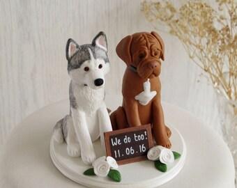 Two Dog Cake Topper - Custom Two Dog Topper - Dog Cake Topper - Husky and Dog De Bordeaux Topper - Custom Dog Cake Topper - ANY BREED TOPPER