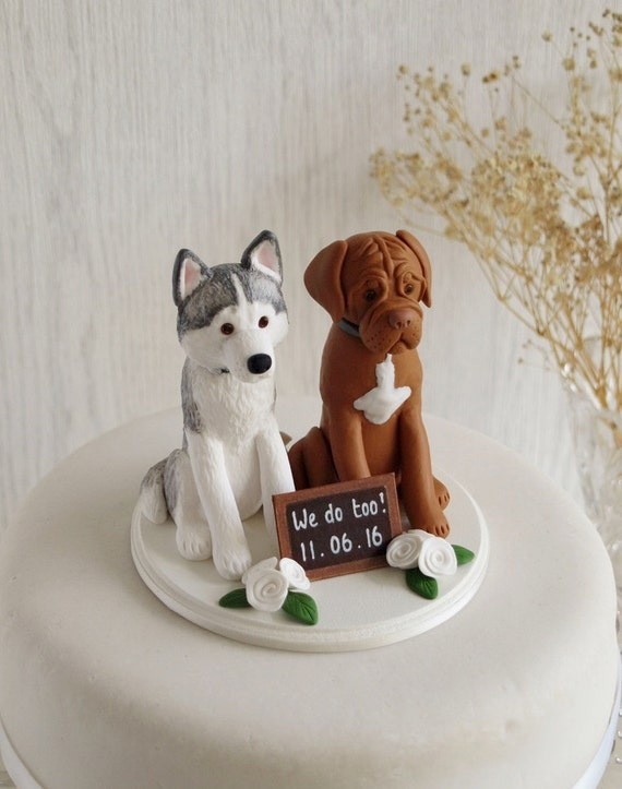 Two Dog Cake Topper Custom Two Dog Topper Dog Cake Topper